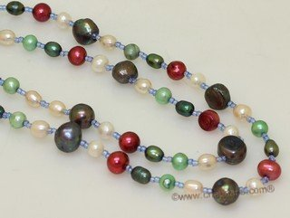 lrpn032  Mix color  freshwater pearl  Opera necklace in wholesale