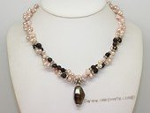 ltpn011 Discount Freshwater Pearl and Smoking Quartz Twister Necklace