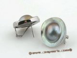 mbpe006 Sterling silver 25-26mm grey mabe pearl pierce clip earrings
