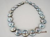 mbpn007 15-16mm Grey mabe pearl necklace with 925silver magnetic clasp