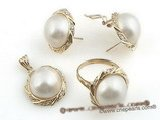 mbpnset001 Round shape white mabe pearl 14K Gold jewelry set in wholesale