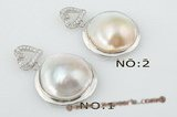 mbpp016 Sterling silver 20-21mm white mabe pearl pendant with heart tail