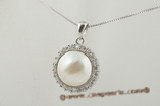 mbpp019 A Grade 14-15mm white round mabe pearl pendant in sterling silver