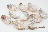 mbpp026 Mix style plated silver oval shape mabe pearl pendant
