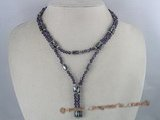 mn002 Hematite and crystal necklace/bracelet dark purple ice
