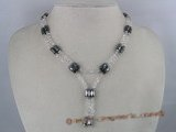 mn014 Hematite and white faceted crystal Magnetic necklace/bracelet