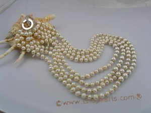 MPN002 Four rows potato pearls necklace with seashell pearls