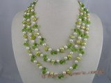 MPN003 Three rows potato pearls necklace with green tear-drop cr