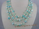 MPN005 Three rows potato pearls necklace with bule crystal beads