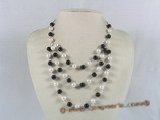 mpn100 handcrafted shell pearl with black agate layer necklace
