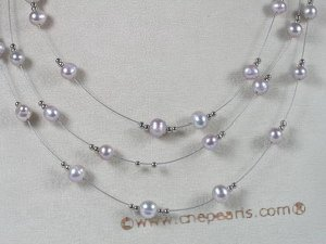 mpn018 purple potato shape fresh water pearl necklace, moving tin cup necklace