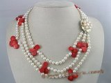 mpn021 three strands 6-7mm white potato shape freshwater pearl with fanlike red coral beads