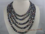 mpn025 five strands 7-8mm black nugget pearls necklace