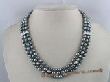 mpn027 three strands 6-7mm peacock rice-shape pearl necklace