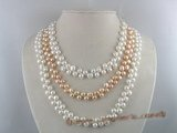 mpn030 extraordinary three strands 6-7mm breads pearl necklace