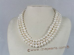 mpn031 three strands 8-9mm potato shape freshwater pearl necklace
