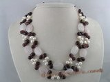 mpn035 Double strands gemstone and pearl necklace