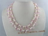 mpn036 Double strands cultured pearl necklace with crystal beads