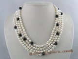 mpn037 Four strands cultured pearl necklace with black agate beads