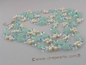 mpn041 Triple-strands coin shape crystal and pearl necklace jewelry