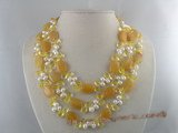 mpn042 Triple-strands oval jade and pearl necklace jewelry