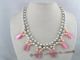 mpn043 handcraft knitted potato pearl bridal & wedding necklace with opal beads