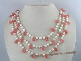 mpn047 Triple strands white pearl neckalce with gemstone beads