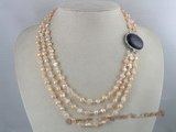 mpn048  pink nugget pearl and crystal triple strands neckalce