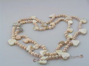 mpn049 Double strands pink potato pearl necklace with shell beads