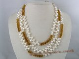 mpn050 Triple rows topdrilled pearl nekclace with champagne crystal