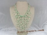 mpn051 Colloid knitted Illusion pearl necklace with white & green pearl