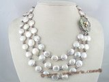 mpn055 three strands 12mm coin pearl cultured pearl necklace