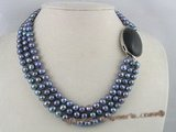 mpn058 three strands 7-8mm black potato pearl multi-strands necklace