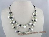 mpn059 Two strands 12mm coin pearl and agate beads layer necklace