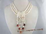 mpn060 6-7mm white nugget pearl multi-strands necklace