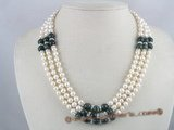 mpn063 Three strands white potato pearl necklace with Green-Phantom beads