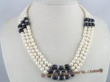 mpn064 Three strands white potato pearl necklace with blue sand stone beads