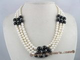 mpn065 Three strands white potato pearl necklace with black agate