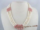 mpn066 Three strands white potato pearl necklace with watermelon stone