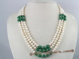 mpn069 Three strands white potato pearl necklace with chinese jades