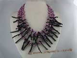 mpn070 Three strands purple side-dirlled pearl necklace with branch coral