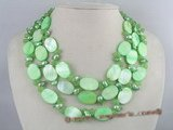 mpn073 three rows 7-8mm blister pearl and oval shell necklace in green color