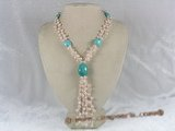 mpn080 double-strands side drill pearl necklace with crystal beads