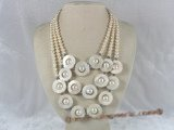 mpn083 triple-strands white potato shape pearl necklace with shell beads