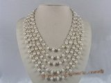 mpn089 Five strands white side-drill pearl necklace with crystal beads