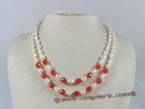 mpn091 double-strands white rice shape pearl necklace with crystal beads