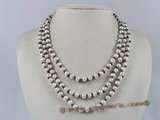 mpn092 Three-strands white potato pearl necklace with garnet beads