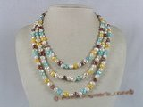 mpn095 multi colour double shiny triple strands pearl necklace