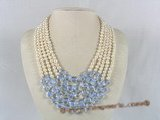 mpn099 Five rows white potato shape pearl necklace with blue crystal
