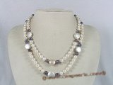 mpn104 double strands potato pearl  necklace with coin shape pearl